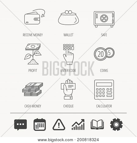 Cash money, safe box and calculator icons. Safe box, cheque and dollar usd linear signs. Profit investment, wallet and coins icons. Education book, Graph chart and Chat signs. Vector