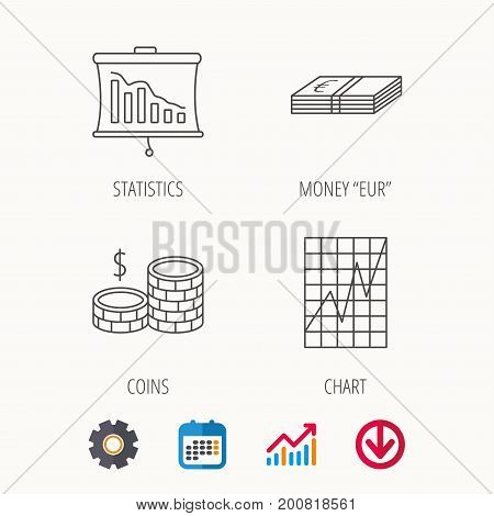 Chart, cash money and statistics icons. Coins linear sign. Calendar, Graph chart and Cogwheel signs. Download colored web icon. Vector