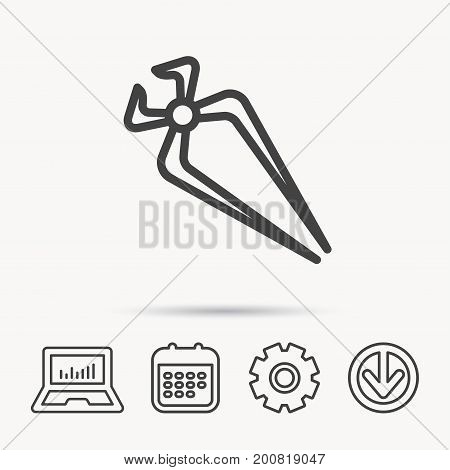 Nippers icon. Repairing service tool sign. Notebook, Calendar and Cogwheel signs. Download arrow web icon. Vector