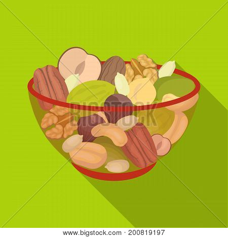 A mixture of different kinds of nuts. Different nuts single icon in flat style vector symbol stock illustration .