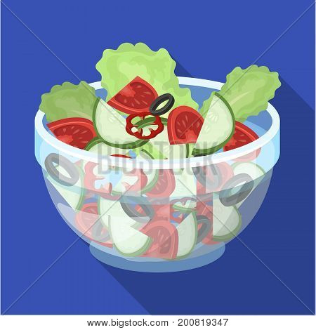 Delicious vegetable salad. Vegetarian food single icon in flat style vector symbol stock illustration .