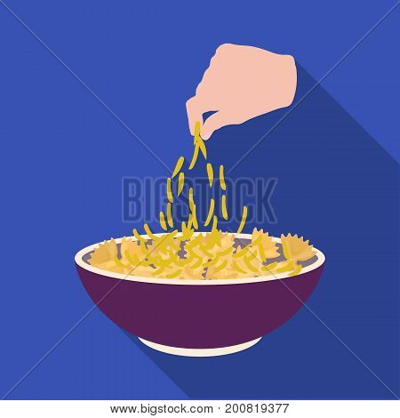 Preparation of food from pasta. Food single icon in flat style vector symbol stock illustration .