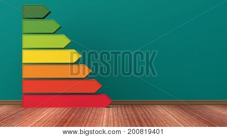 Energy efficiency bars on wooden floor background. 3d illustration