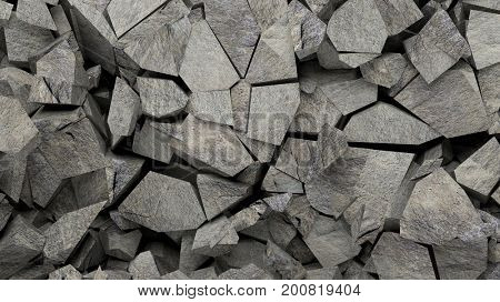Mineral rocks pieces background. 3d illustration