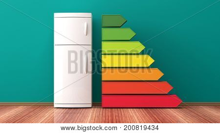 Fridge and energy efficiency rating. 3d illustration