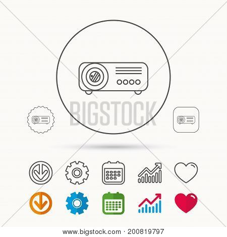 Projector icon. Video presentation device sign. Business office conference tool symbol. Calendar, Graph chart and Cogwheel signs. Download and Heart love linear web icons. Vector