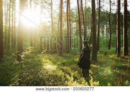 Young Man In A Black Jacket Is Walking In A Pine Forest On Sunrise.