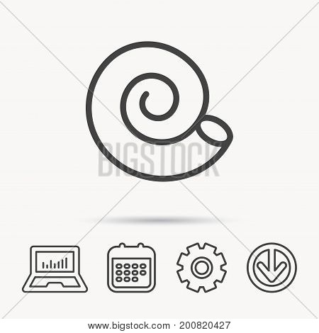 Sea shell icon. Spiral seashell sign. Mollusk shell symbol. Notebook, Calendar and Cogwheel signs. Download arrow web icon. Vector