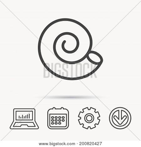 Sea shell icon. Spiral seashell sign. Mollusk shell symbol. Notebook, Calendar and Cogwheel signs. Download arrow web icon. Vector