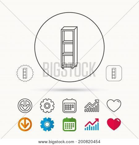 Empty shelves icon. Shelving sign. Calendar, Graph chart and Cogwheel signs. Download and Heart love linear web icons. Vector