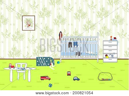 Kids untidy and messy room. Child scattered toys. Children's room. Mess in the house. Vector illustration