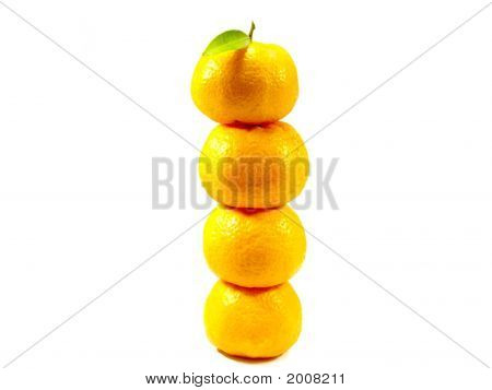 several oranges piled one on top of another. poster