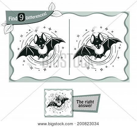 Find 9 Differences Game Black Night Bat