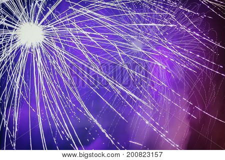 Firework with effects, noise, light and floating smoke. Explosive pyrotechnic devices for aesthetic and entertainment purposes