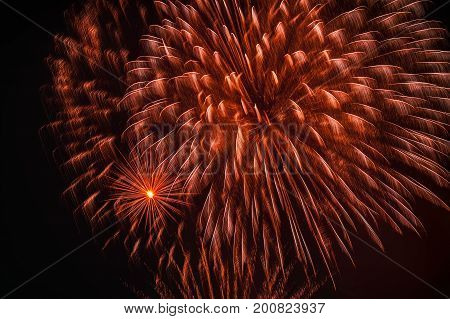 Colorful fireworks, as big peony with sparks. Explosive pyrotechnic devices for aesthetic and entertainment purposes, art. Colored firework holiday backdrop