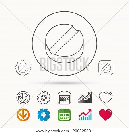 Tablet icon. Medicine drug sign. Pharmaceutical cure symbol. Calendar, Graph chart and Cogwheel signs. Download and Heart love linear web icons. Vector