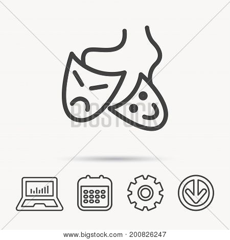 Theater masks icon. Drama and comedy sign. Masquerade or carnival symbol. Notebook, Calendar and Cogwheel signs. Download arrow web icon. Vector