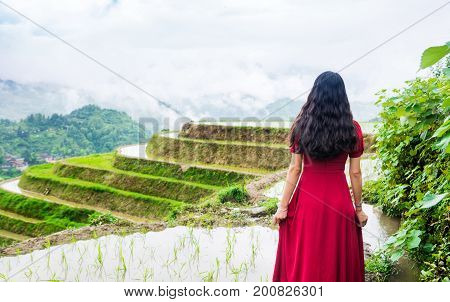 Girl In Red Dress Enjoying Rice Terrace View