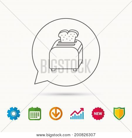 Toaster icon. Sandwich machine sign. Calendar, Graph chart and Cogwheel signs. Download and Shield web icons. Vector