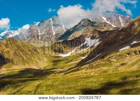 Swiss Alpine Landscape neat St Bernard Pass. Switzerland Scenic Alp Mountains.