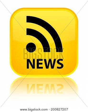 News (rss Icon) Special Yellow Square Button