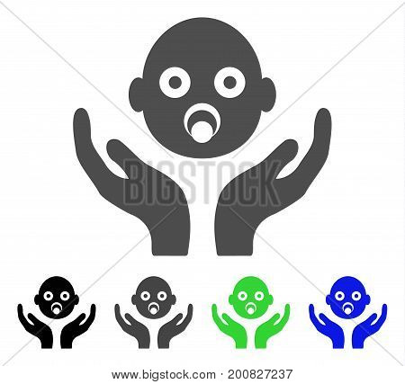Baby Care Hands flat vector illustration. Colored baby care hands, gray, black, blue, green pictogram variants. Flat icon style for application design.
