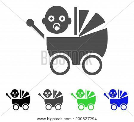Baby Carriage flat vector pictogram. Colored baby carriage, gray, black, blue, green pictogram versions. Flat icon style for application design.