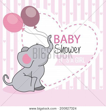 baby shower girl. Elephant with two balloons.