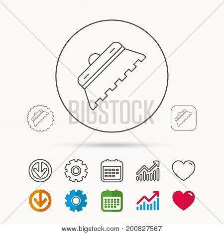 Trowel for tile icon. Spatula repair tool sign. Calendar, Graph chart and Cogwheel signs. Download and Heart love linear web icons. Vector