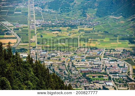 Martigny. Capital of the French Speaking District of Martigny in the Canton of Valais in Switzerland