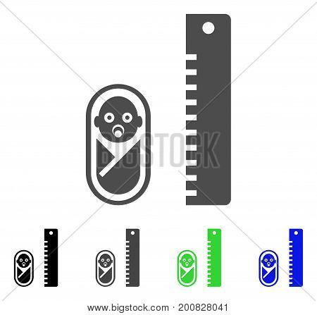 Baby Height flat vector pictograph. Colored baby height, gray, black, blue, green icon versions. Flat icon style for application design.
