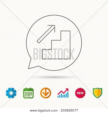 Upstairs icon. Direction arrow sign. Calendar, Graph chart and Cogwheel signs. Download and Shield web icons. Vector