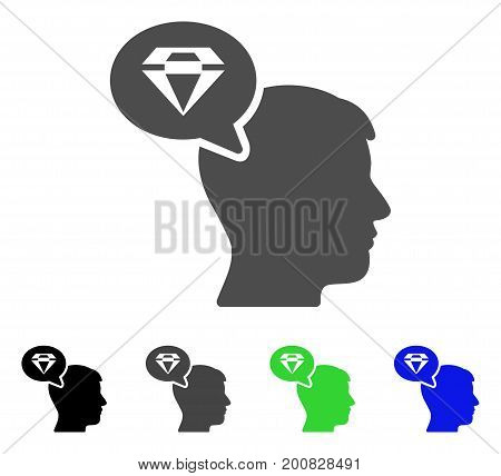 Diamond Thinking flat vector illustration. Colored diamond thinking, gray, black, blue, green icon versions. Flat icon style for application design.