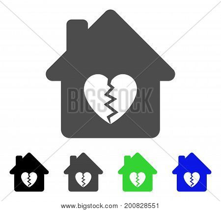 Divorce House Heart flat vector pictogram. Colored divorce house heart, gray, black, blue, green icon variants. Flat icon style for web design.