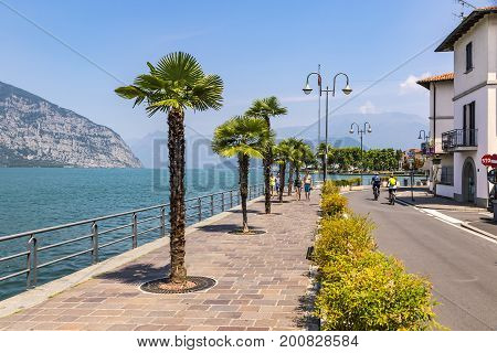 Promenade Street In Iseo City, Iseo Lake, Italy