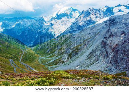 Stelvio Pass in Italian Alps. Elevation of 2757 m Above Sea Level. Famous Alpine Road Pass.