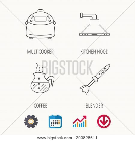 Coffee, kitchen hood and blender icons. Multicooker linear sign. Calendar, Graph chart and Cogwheel signs. Download colored web icon. Vector