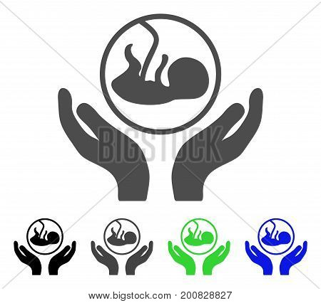 Embryo Care Hands flat vector pictogram. Colored embryo care hands, gray, black, blue, green icon versions. Flat icon style for graphic design.