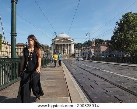 Ponte Vittorio Bridge And Gran Madre Church In Turin