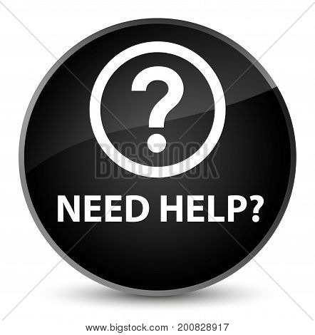 Need Help (question Icon) Elegant Black Round Button