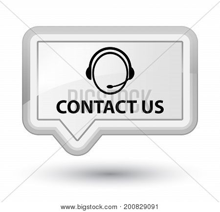 Contact Us (customer Care Icon) Prime White Banner Button