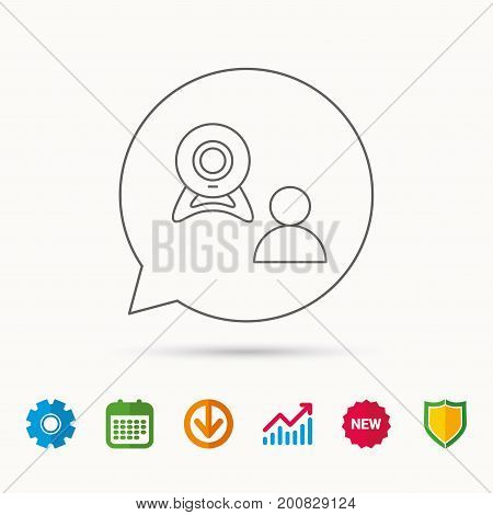 Video chat icon. Webcam chatting sign. Web conference symbol. Calendar, Graph chart and Cogwheel signs. Download and Shield web icons. Vector