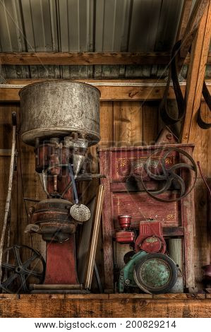 Old Engines Stored on Shelf - antique motors stored away
