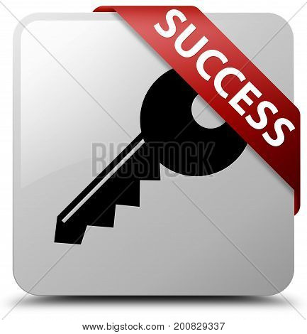 Success (key Icon) White Square Button Red Ribbon In Corner