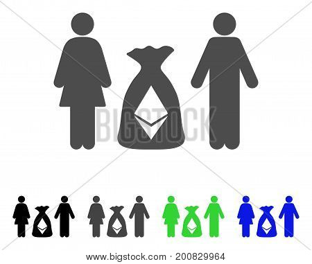 Family Ethereum Deposit Bag flat vector illustration. Colored family ethereum deposit bag, gray, black, blue, green pictogram versions. Flat icon style for application design.