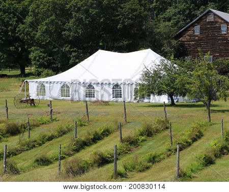 a large white events or wedding tent