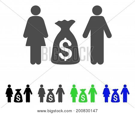 Family Money Deposit flat vector icon. Colored family money deposit, gray, black, blue, green pictogram versions. Flat icon style for graphic design.