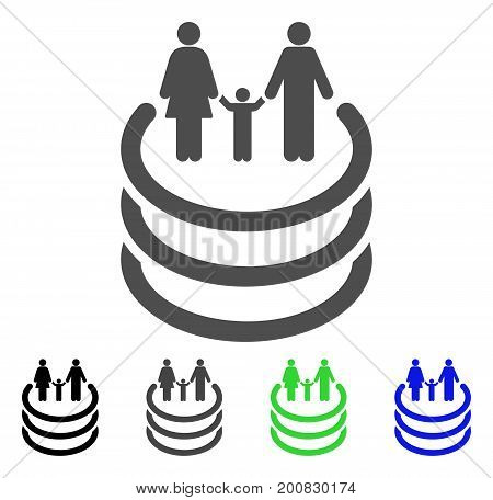 Family Portal flat vector illustration. Colored family portal, gray, black, blue, green icon versions. Flat icon style for web design.