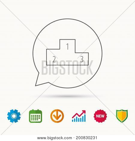Winners podium icon. Prize ceremony pedestal sign. Calendar, Graph chart and Cogwheel signs. Download and Shield web icons. Vector