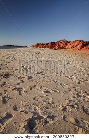 Western Australia - rocky coastline with red colored rocks at Dampier Peninsula